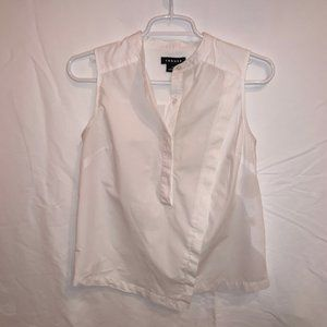 Trouve 100% Cotton White Sleeveless Blouse